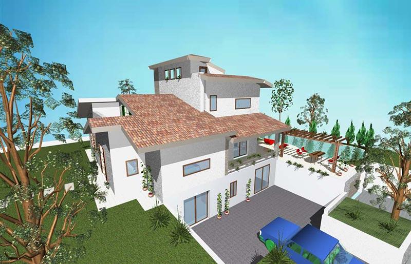 Villa in collina studio di progettazione caiola for Piani di casa contemporanea in collina